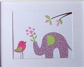 Nursery Wall Art, Kids Wall Art, Children's Room Art Decor, Girls, Elephant, Bird, The Gift - Purple, 8x10 Art Print