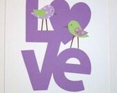 Kids Wall Art, Children's Room Art, Baby Girl Nursery Decor, Purple, Lavender, Green, Love Birds, 8x10 Print
