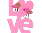 Kids Wall Art, Nursery Room Decor, Little Girls Room Art, Children's Room Decor, Love, Birds, Pink and Brown, Love Birds, 8x10 Print