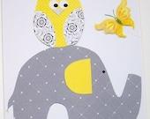 Nursery Art, Baby Room Decor, Kids Wall Art, Elephant, Owl, Butterfly, Grey and Yellow Nursery, Well Hello There, 8x10 Print
