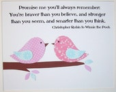 Baby Girl Nursery Decor, Birds, Kids Wall Art, Baby Room Decor, Children's Room Decor, Quote, Promise Me You'll Always Remember, 8x10 Print