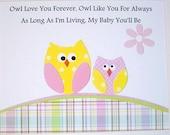 Nursery Art, Kids Wall Art, Nursery Decor, Baby Girl Nursery, Children's Decor, Owls, Pink, Yellow, Owl Love You Forever, 8x10 Art Print