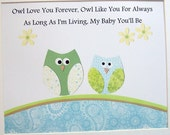 Kids Wall Art, Children Room Decor, Baby Boy Decor, Nursery Art, Owls, Quote, Owl Love You Forever, 8x10 Print