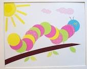 Nursery Art, Baby Girl Room Decor, Kids Room Decor, Kids Wall Art, Children's Room Decor, Colorful Caterpillar, 8x10 Print