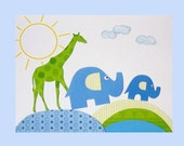 Kids Wall Art, Children's Room Decor, Nursery Decor, Little Boys Art, Giraffe, Elephant, Green, Blue, March of the Zoo Animals, 8x10 Print