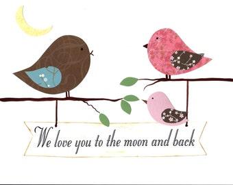 Nursery Art, Kids Wall Art, Baby Girl Nursery, Art Decor, Birds, Verse, Rose, Brown, Pink, We Love You to the Moon and Back, 8x10, Print