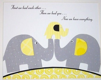 Kids Wall Art, Children's Room Decor, Baby Room Art Decor, Grey and Yellow Nursery, Elephant, Quote, First We Had Each Other, 8x10 Print