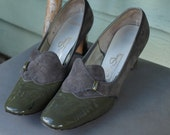 SALE 1/2 price Womens size 9 pumps 1960's grey suede and green patent leather Red Cross shoes