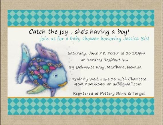Rainbow fish fish baby shower invitation for Fishing baby shower invitations