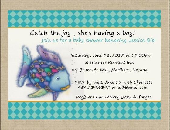 rainbow fish fish baby shower invitation