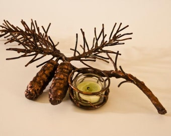 Copper Pine Cone Table Candle