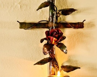 Copper Rose Cross Candle