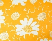 1960's MOD Orange Floral Cotton Fabric: Pop Art Vintage Yardage Bright Flowers - 3 Yards