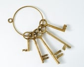 Vintage Set of Brass Keys - Five Large Skeleton Keys on a Ring