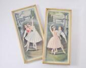 1950s Ballet Dancer Picture Set: Vintage Dancers Framed 3D Prints Mid Century, Kitsch Wall Hanging