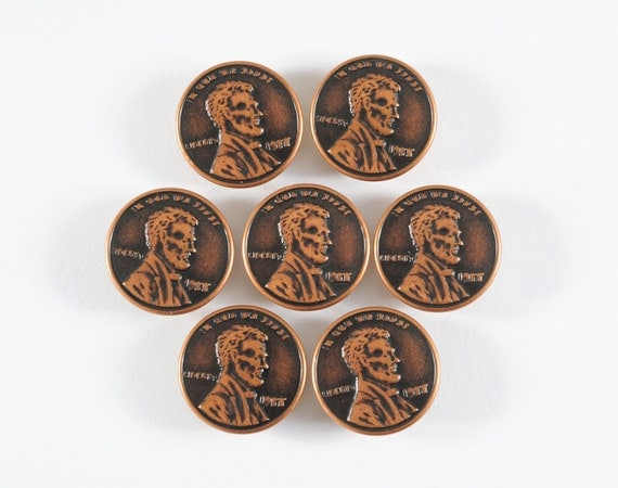 Set of Penny Buttons - 1977 Faux Copper Pennies