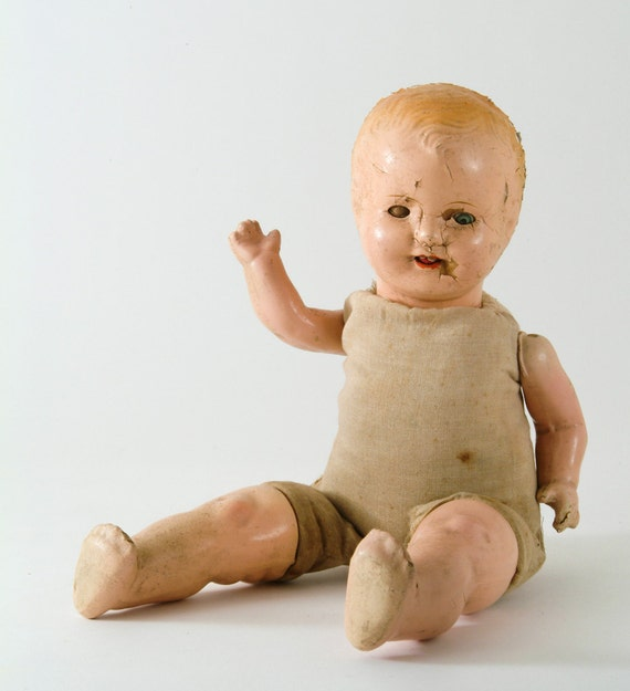 Baby Doll Ruin - 1930's Composition Doll Cloth Body Sleeper Eyes