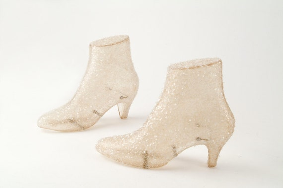 Glass Glittered Mannequin Shoe Display Forms