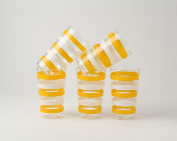 Yellow Striped Vintage Drinking Glass Set