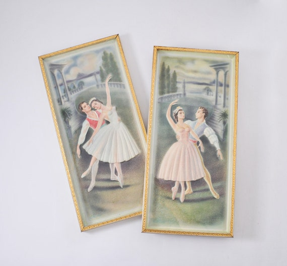 1950s Ballet Dancer Picture Set: Vintage Dancers Framed 3D Prints Mid Century, Kitsch Wall Hanging