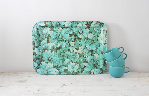 Vintage Aqua Blue Floral Metal Tray with Stand - Mid Century Floral
