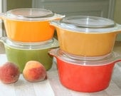 Instant collection of four lidded Pyrex dishes