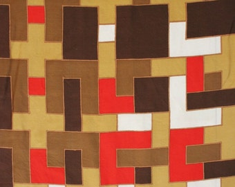 Large Echo silk scarf with geometric mod pattern. Fire engine red, brown, caramel, graphic.