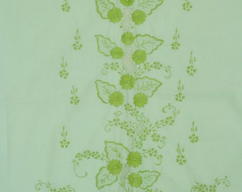 Yardage of hand embroidered vintage fabric made in Japan. Cotton blend, floral fabric, light green, pastel, spring, sewing supplies.
