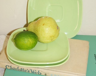 Three brilliant chartreuse saucers from Franciscan Pottery. Mod plate, green plate, spring green plate, modern plate, lettuce green plate