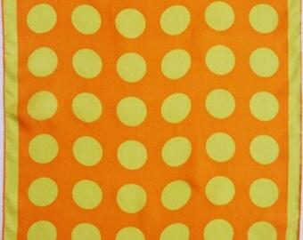 Fun and bold Vera ladybug scarf with jumbo polka dots. Electric yellow, orange, silk, oblong.
