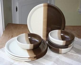Set of McCoy dishes in Sandstone pattern. Plates, bowls, set, four.