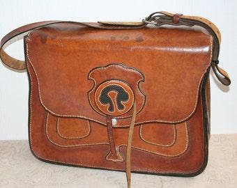 SALE. Large hand stitched leather shoulder bag. Rustic, men, for him, caramel, black, brown