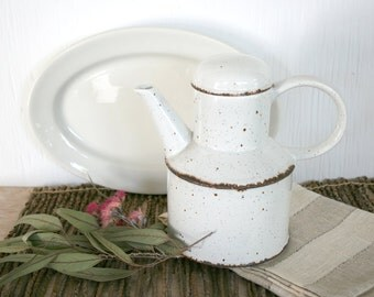 Midwinter teapot in Stonehenge pattern. Mid century, England, white, speckled, robust, rustic.