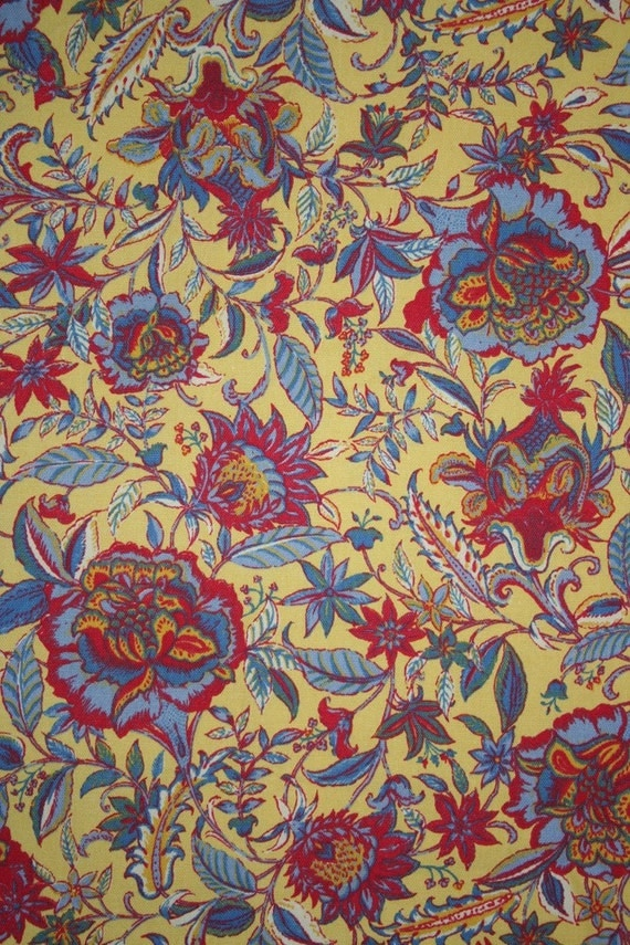 Items Similar To Lovely Floral Upholstery Fabric In Yellow