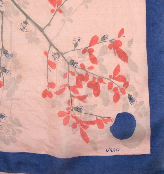 Fantastic post-war Vera scarf with cherry or plum blossoms