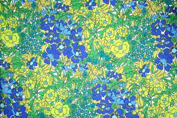 Brilliant flower power cotton fabric. Retro, hippie, meadow, wildflowers, yellow, lime, green, blue, aqua, summer.