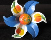 Vintage Enameled Flower Pin with Oranges and Blue Petals