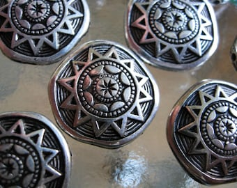 Tribal Mayan Sun Beads 10 VTG Antiqued Silver Plated 18mm Coin