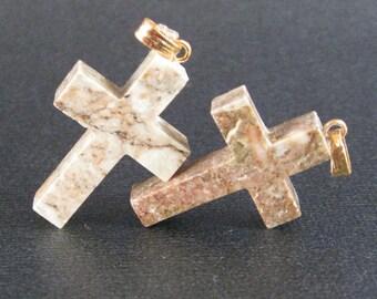 Cross Pendants in Agate 2 Crosses with Top Loop