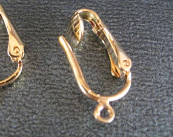 Clip On Earring Findings in Gold Plate, Convert Your Earrings to Clip Ons, Pierced Look /4 pairs