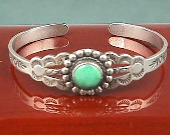 Rare Antique Baby Bracelet Vintage Southwest Sterling Silver & Turquoise Southwestern, Young Child Child's Bangle, Infant Baby Gift Gifts