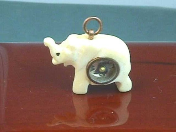 Antique Elephant Compass Charm Of Carved Ivory Or By