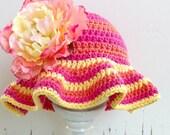 Tutti Frutti Floppy Crochet Sun Hat Pattern - Crochet Pattern No.115 FOUR Sizes Digital Pattern