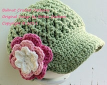 Newsboy Crochet Hat Pattern in Baby, Toddler, Kids and Adult Sizes available to download instantly No.207