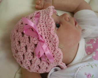 Crochet Baby Hat Pattern - Easy Peasy Ribbon and Shells Digital Crochet Pattern No.204 NINE Sizes Newborn Baby Toddler Child