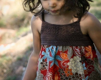 Crochet dress pattern for girls - Crochet and Fabric Summer Dress Tutorial - FOUR Sizes 1 to 4 Yrs