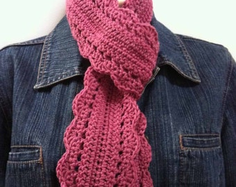 Crochet Skinny Scarf Pattern - Sam's Scarf Crochet Pattern No.508 TWO Sizes uses DK (AUS 8ply) weight yarn Digital Download