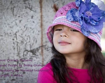 Girls Summer Hat Crochet Pattern - Sun Hat Crochet Pattern in baby, toddler and child sizes No.116 FOUR Sizes