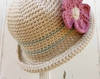 Crochet Hat Pattern - Rolled Brim Hat Crochet Pattern No.119 Baby Bowler Newborn