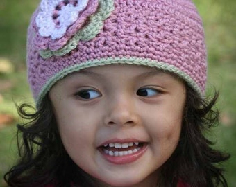 Girls Blossom Beanie Crochet Hat Pattern No.202 Baby to adult sizes uses DK Weight (Australian 8ply) Yarn